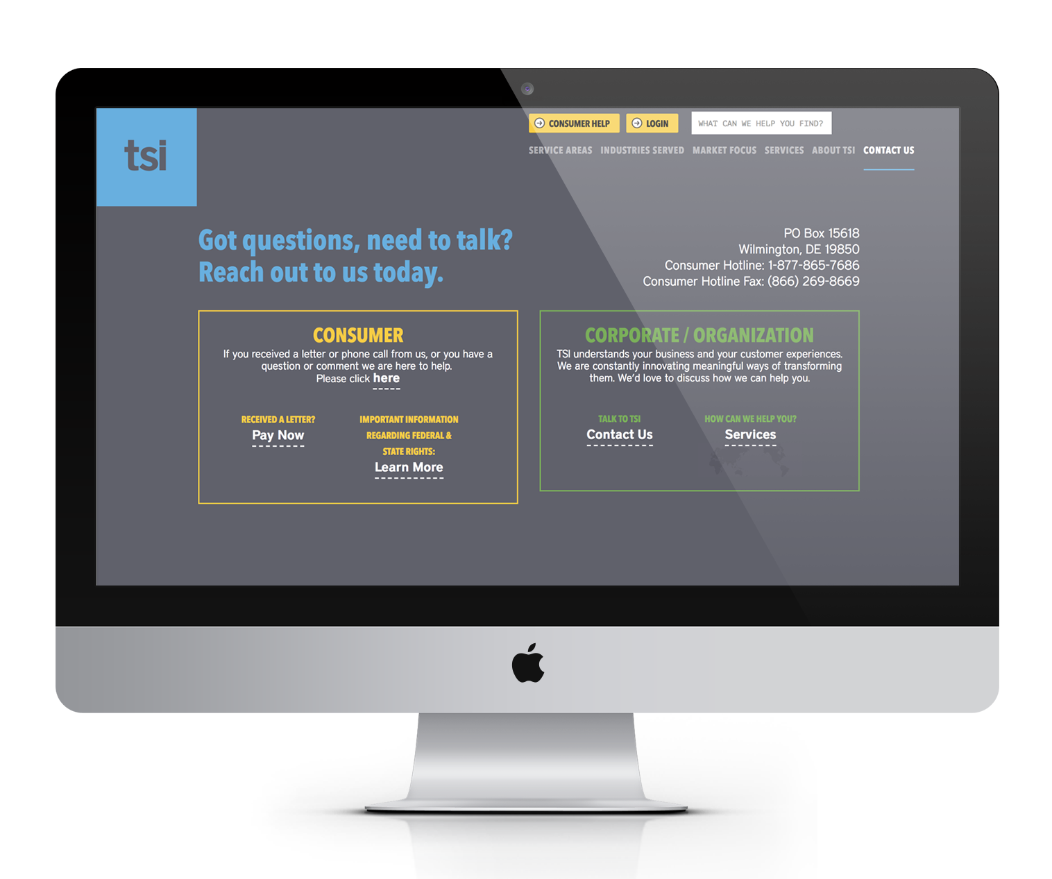 TSI Contact Us before website redesign